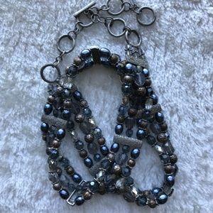 Silver beaded Chain Hip/Waist Belt Blues/Metallics
